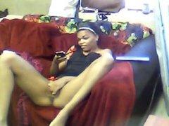 Amateur ebony teen mastubates on webcam -