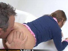 Teen Brunette Ashlynn Suck nd Ride a Cock Cumshot