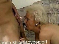 Granny Sucks Off A Hunk