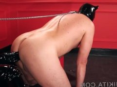 Femdom - latex puppy slave dominated by latex bimbo Domme