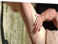 Jerking off in Pantyhose Outside