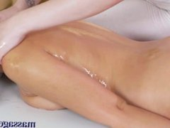 Massage Rooms Oily tribbing orgasms for two hot young brunette lesbians