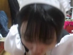 SWALLOWS CUM JAPANESE MAID UNIFORM BLOWJOB (M1)