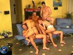 Sultry milfs Lill and Bea having fun in gangbang