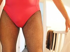 Swim suit and Fishnet Tights