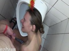 Skinny teen fist fucked and showered in piss