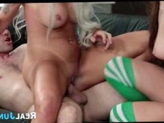 Lucky Guy Threesome With Redhead And Blonde Nina Elle Jojo Kiss
