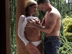 Petite babe gets fucked in the garden