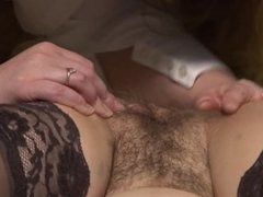bbw hairy lick pussy and masturbate each other legs in stockings