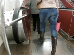ass in tight jeans in metro