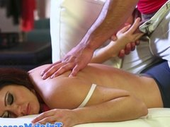 Busty massage babe Holly Heart pussypounded