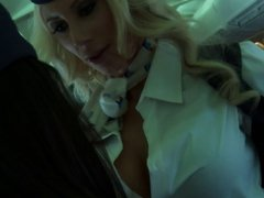 Blonde and brunette air hostesses fuck with a dildo