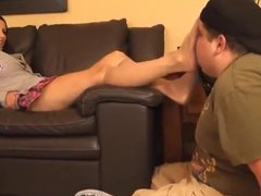 Sniffing on Nylon Feet