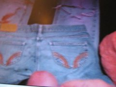 Powerful cum shot on some girls old jeans