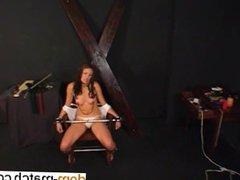Hottie bound in a chair enjoying pleasur - Find her on DOM-MATCH.COM