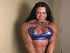 Brazilian muscle babe Monica pec flexing