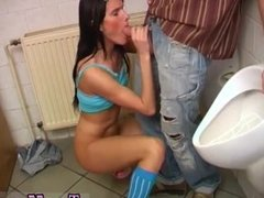 Hard anal pov threesome Debbie screwed in public toilet