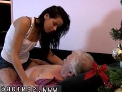 Cruel blowjob and old lesbian ass licking Bruce a messy old boy enjoys to