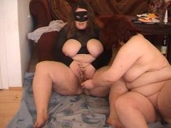 Masked BBW lesbians piss and dildo play