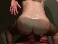 Wife on Glass table juices flowing 2