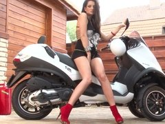 Sandra Shine riding a motorbike quite sexy and fingering