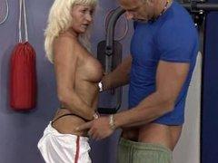 Blonde GILF Fuck In Gym