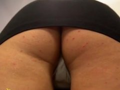 Blonde MILF in miniskirt bends over: upskirt panty shots ! shame on her !