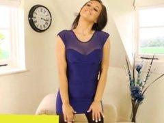 Brunette MILF in too short minidress can't avoid upskirt & panty flashing !