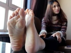 Chinese student girl feet show
