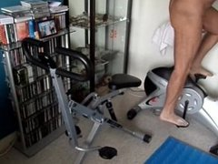 Exercising nude having a boner