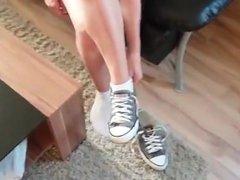 Hot blonde teen shows her white ankle socks POV