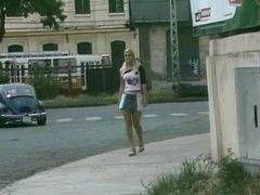 blonde slag pisses in full view of motorists