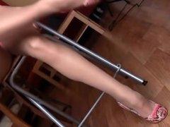 Wife's Long Legs In Sheer Nude Pantyhose