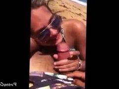 Blonde babe sucks a cock on the beach