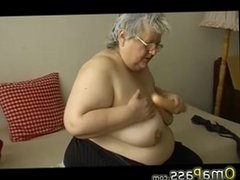 Old chubby granny with big tits plays with dildo. Maris from DATES25.COM