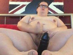 Big sexy fuck playing with big black dildo