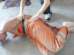 Polish Worker hogtied and tickled