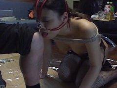 Subtitled mixed Japanese BDSM on a leash with anal play