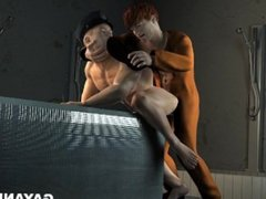 3D cop getting rimmed, fucked, and toyed by a prisoner