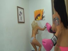 Blonde vs Asian Topless Apartment Boxing