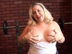 Bubbly, busty blonde BBW plays with her fat juicy pussy