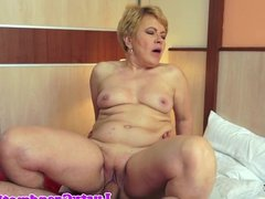 Granny banged doggystyle on the bed