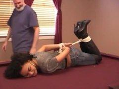 girl tied on pool table