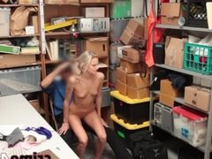 Hot skinny blonde banged for shoplifting