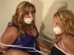 Two girls tied to each other
