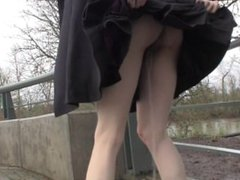 Standing pee in a skirt in public - no panties