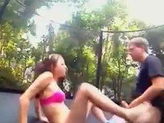 Amateur couple fuck on a trampoline