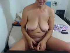 Granny fucking a dildo like a crazy webcam. Kerrie LIVE on 720cams.com