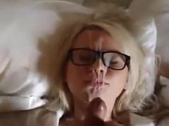 Cumshot on girl with glasses. Leonora from DATES25.COM