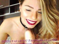 MFC Red Lips Sexy Babe Sucks Dildo Deep Throat Webcam